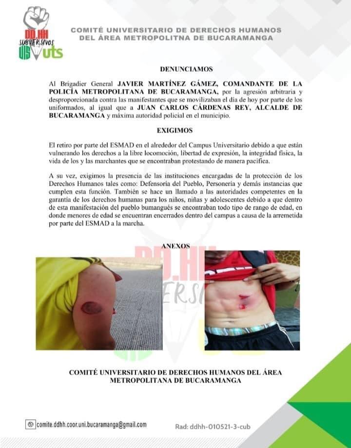 Manifestanti in Colombia picchiati dalla polizia